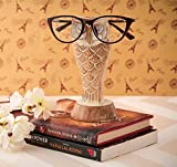 Eximious India for Men Owl Eyeglass Spectacle Holder Wooden Handmade Bedside Display Home and Office Decor Desk Glasses Gifts for Kids Him Her Mom Dad Retainers for Men (Design 2)