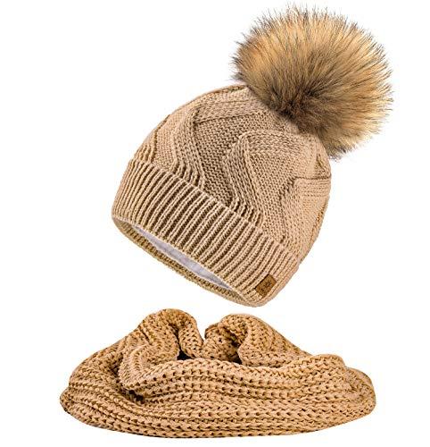 MFAZ Morefaz Ltd Ensemble écharpe et bonnet pour femme, bonnet tricoté avec doublure polaire et pompons - Beige - Taille Unique