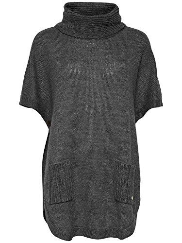 ONLY Damen Oseana Rollneck Cape Poncho, Grau (Dark Grey Melange), 38 (Herstellergröße:Large)