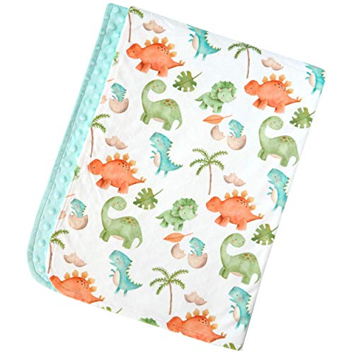 "Bundled Joy Baby Gifts - Premium Soft Plush Lightweight Minky Dot Toddler Baby Newborn Blanket 30""x40"" Boys Girls Unisex Dinosaurs Blue"