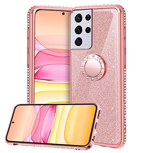 Funda para Samsung Galaxy S21 Ultra 5G, Glitter Brillante Diamante Carcasa Soporte Magnético de 360 Grados Anillo Giratorio Slim Fit Suave Silicona Gel TPU Anti-Choques Protectora Carcasa - Oro Rosa
