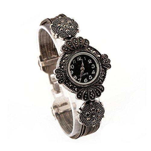 Lecker Maedsche Klassische Antikstil Trachtenschmuck Armbanduhr - Dirndl Armband mit Uhr - Kristall (Kettenarmband)