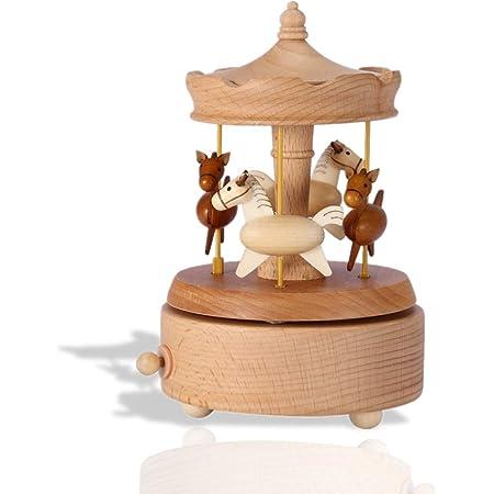 Lazmin112 Carillon Rotante in Legno per Cavalli Vintage, Bellissimo Carillon per giostre Regalo di Compleanno di Natale per la Decorazione Domestica