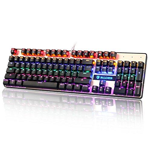SADES K10 LED Backlit USB Mechanische Gaming-Tastatur mit Blauen Schalter (schwarz)