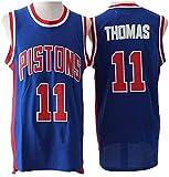 Dll Baloncesto Jersey NBA Detroit Pistons # 11 Thomas Jersey, Jersey Retro, cómodo, Transpirable de Malla Bordada con Capucha Unisex (Color : Blue, Size : M(175cm/65~75kg))