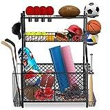 IPOW Upgrade Garage Sports Equipment Storage Organizer  Ball Storage Rack  Garage Ball Organizer  Sports Gear Storage  New Garage Storage Racks with Baskets, Hooks, Bat Rack, Ball Ring Rack Steel