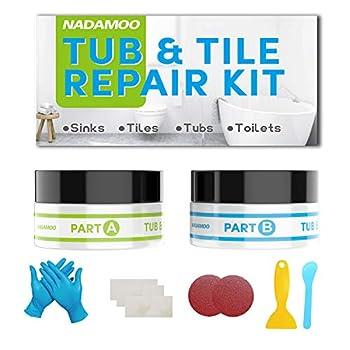 NADAMOO Tub Repair Kit White Tile Shower Repair Kit for Fiberglass Porcelain Ceramic Acrylic Stone Fix Crack Chip Scrap Hole - 3.5 Oz