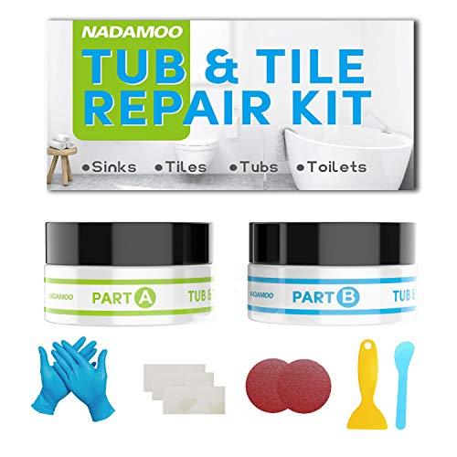 NADAMOO Tub Repair Kit White Tile Shower Repair Kit for Fiberglass Porcelain Ceramic Acrylic Stone Fix Crack Chip Scrap Drill Hole Adhesive Sealant - 3.5 Oz