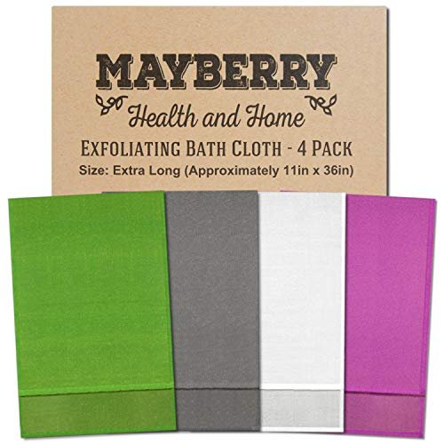 Extra Long (36 Inches) Exfoliating Bath Cloth/Towel (4 Pack) Gray, White, Green, and Lavender Nylon Bath Cloth/Towel, Stitching on All Sides for Added Durability