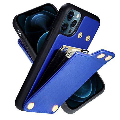 LAMEEKU Wallet Case Compatible with iPhone 12 Pro Max, Leather Case with Card Holder Snap Button Card Slot Cash Pocket Protective Bumper Phone Cover Designed for iPhone 12 Pro Max 6.7'' 5G Dark Blue