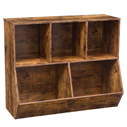 HOOBRO Bücherregal, Kommode Schrank mit 3 Fächern, 2 Kippboxen, großer Stauraum, Stabil, kinderregal, Multifunktional, für Schule, Flur, Schlafzimmer, Arbeitszimmer, Dunkelbraun EBF32CW01