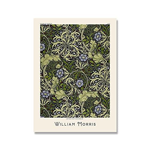 Dabbledown Cuadro de Lienzo William Morris Vintage Flor Hoja Imagen Museo exposición Cartel Artes y oficios Pioneer Nouveau Pintura 60X90CM