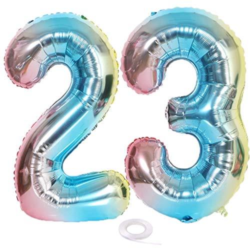 SNOWZAN Globo con número 23 XL con el número 23 para niña arcoíris globos con 23 para decoración de cumpleaños color iridiscente 23 años globo de 32 pulgadas helio gigante para fiesta de cumpleaños