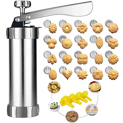 Cookie Press Gun Kit for DIY Biscuit Maker and Decoration with 20 Stainless Steel Cookie Discs and 4 nozzles, Silver