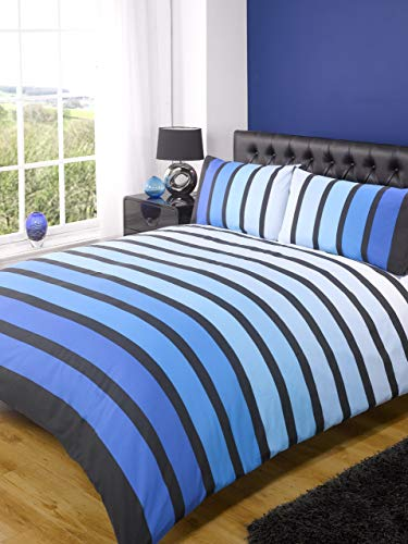 Soho Blue Stripe Duvet Cover Quilt Bedding Set, Blue, King Size - Bedroom Bed Linen