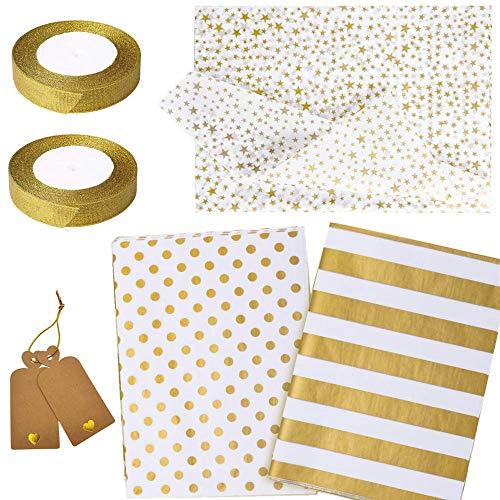 60 Stck Packpapier Geschenkpapier mit Golden Punktmuster, Geschenkpapier mit Goldstern, Packpapier mit Goldstreifen zum Basteln/zur Dekoration für Weihnachten Geschenk Geburtstag Hochzeit Taufe