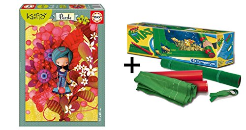 Outletdelocio Pack Puzzle Educa 16762. Blue Lady, Ketto. 1000 Piezas + Tapete Universal Puzzle Roll Clementoni 30297