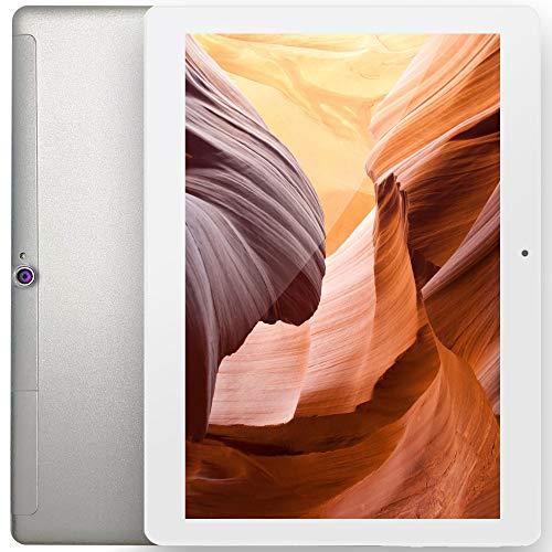 FGZ Tablet 10.1 Pulgadas Portátil con Android 10.0, 4GBRAM/64GBROM Tablet Ultra-Rápido de 1.6GHZ Velocidad,Certificación Google gsm Blanco