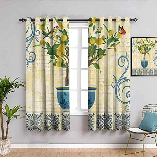 LucaSng Blackout Curtain Thermal Insulated - Simplicity plants fashion flowers - 63x45 inch - for Bedroom Kitchen Living Room Boy Girl Window - 3D Digital Printing Eyelet Ring Curtain