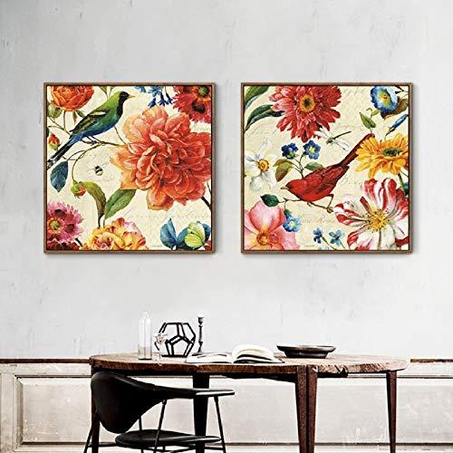 Geiqianjiumai Paneel Vintage affiche, modulair, bloem, canvas, decoratie voor huis, modern, woonkamer, muur, poster en druk