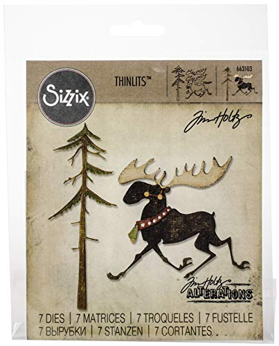 Sizzix Thinlits Dies Merry Moose by Tim Holtz, 7-Pack, Multicolor