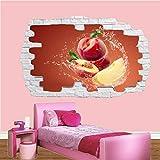 Pegatinas de pared Saludable comer melocotón frutas etiqueta de la pared calcomanía arte Mural impresión cartel decoración adesivi da parete camera da letto 70 * 100cm