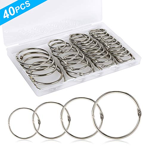 40PCS Loose Leaf Binder Rings, Assorted Sizes (Inner Diameter 1, 1.25, 1.5, 2 inch) Book Rings, Premium Metal Rings, for School, Office, or Home.