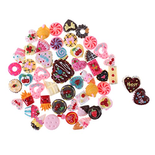 20Pcs Mix Lots Resin Flatback Ice Cream Bread Pizza Food Fruit Flower Charm Art Album Flat Back Phone Scrapbooking Hair Clip Hairpin Sewing DIY Craft Accessory Jewelry Decoration Dollhouse Ornament