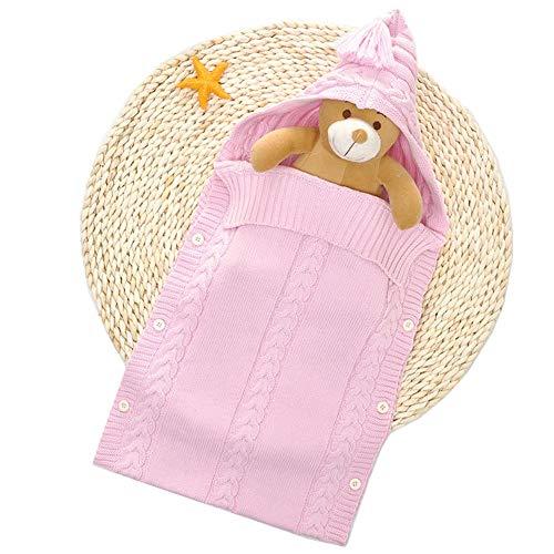 MOMIN-HM Baby-Schlafsack Neugeborenes Baby-Verpackung Swaddle umfassender Schlafsack Schlafsack Kinderwagen Wrap for Baby-Strick für Säuglingskleinkind (Farbe : Rosa, Größe : 30X77cm)