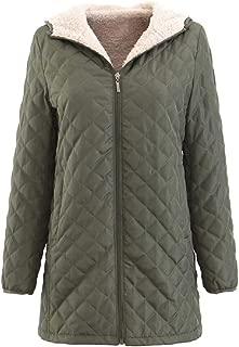 Womens Mid Long Fleece Lined Jacket Hooded Padded Puffer Windbreaker Coat