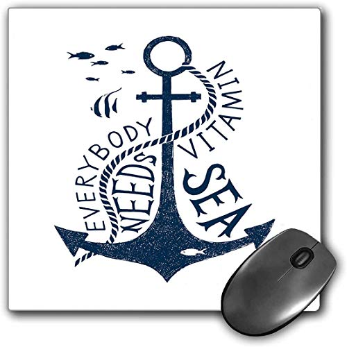 Mouse Pad Gaming Functional Anchor Thick Waterproof Desktop Mouse Mat Hand Drawn Everybody Needs Vitamin Sea Quote Monochrome Fish Silhouette,Dark Blue and White Non-slip Rubber Base
