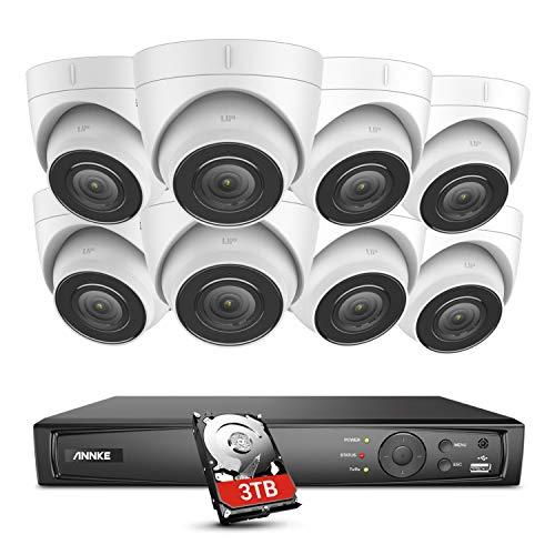 ANNKE H800 4K 16CH PoE Sistema di sorveglianza con audio e 8 X 8 MP IP67 impermeabile PoE IP, 3 TB per registrazione interna 24/7, H.265 + compressione video, visione notturna 30 metri