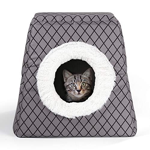 WIMCO® Katzenbett Katzenhöhle | grau kariert | mit Flauschigen Innenkissen | waschbar | Faltbare 2 in 1 Funktion | Katzenkorb + Kuschelhöhle | mit Schaumstoff gepolstert