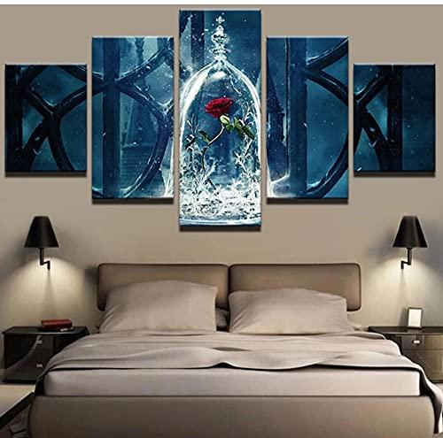 5 paneles con pintura enmarcada de La Bella y la Bestia, flor de rosa roja, lienzo impreso, póster, arte de pared moderno, imagen de sala de estar, 150x80cm