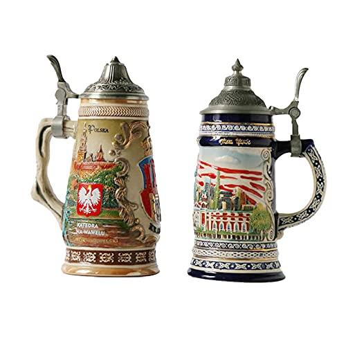 Taza de café de cerámica resistente y duradera, taza de cerveza pintada a mano mejorada personalizada, taza de cerveza de cerámica en relieve personalizada con tapa, souvenir para eventos, 901-1000