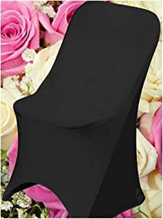 SPRINGROSE Ecoluxe Black Scuba Spandex Stretch Folding Wedding Chair Covers (Set of 10). These are Made for Standard Metal and Plastic Folding Chairs.