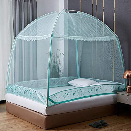 Mosquito net home textile, yurt mosquito net bold bracket, three-door door zipper section, bracket mosquito net bed curtain-green_1.5m bed