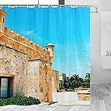 República Dominicana Cortina de Ducha Viaje Decoración de Baño Set Con Ganchos Poliéster 72x72inch (YL-01568)
