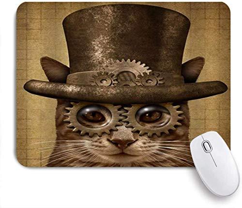Grunge Kitten Neuheit Cat Gear Zylinder Brille Mausunterlage,Schreibtischunterlage,Gummiunterseite Maus Pad,Mausmatte
