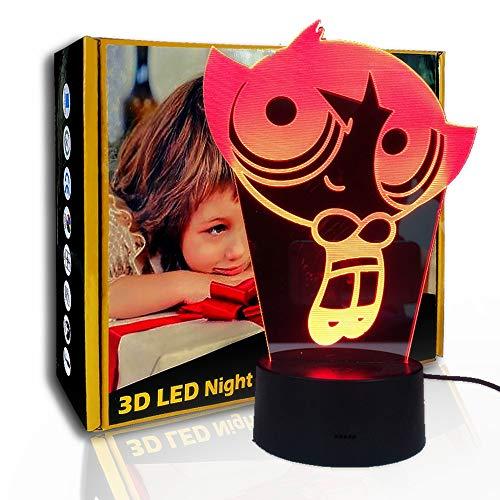 KangYD Cartoon Police Girl 3D Night Light, lámpara de ilusión LED, lámpara para niños, D - Grieta remota Blanco (7 colores), Lámpara infantil, Lámpara de humor, Lámpara Novedad
