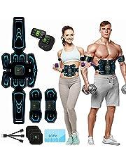 Elektrostimulator voor buikspieren, EMS-stimulator, USB-buikriem, verstevigende riem, LCD-display, buik/arm/been voor dames of heren, 10 modi 20 intensiteit.