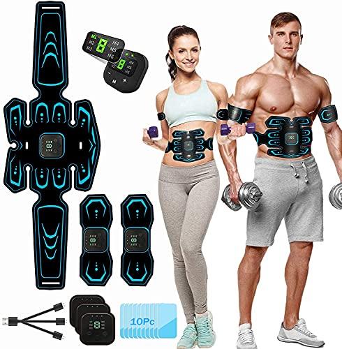 Moonssy EMS Trainingsgerät,Bauchmuskeltrainer,Bauchtrainer,USB-Wiederaufladbarer Tragbarer Muskelstimulator,LCD Display,für Bauch,Arm,Bein-Fitness Trainings Gang(Geschken 10 Gel Pads)