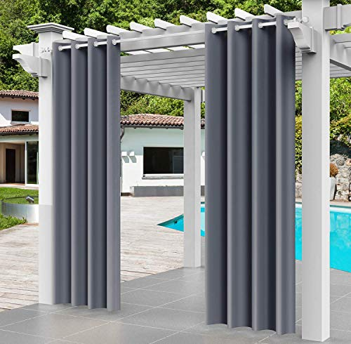 Deekrain Waterproof Outdoor Patio Curtains with Grommet Top, Blackout Thermal Insulated Outdoor Drapery, Decorative Outdoor Drapes for Porch/Pergola/Yard/Sliding Door/Arbor, 1 Panel (Grey, W52× L84)