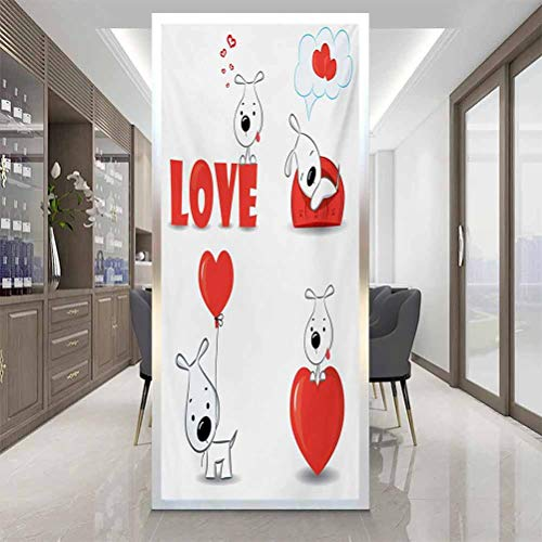 Window Sticker Glass Sticker Living Room Decoration, Love Funny Dogs with Heart Symbols My Pet Best Friends, Home Window Tint Film Heat Control, W35.4 x H78.7 Inch