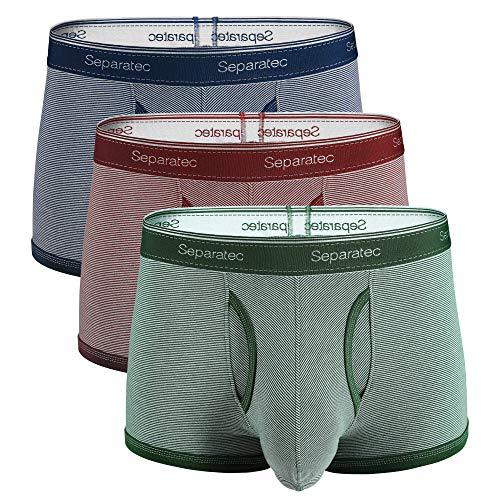 Separatec Herren Boxershorts Weiche gekämmte Baumwolle mit separaten Beuteln Unterwäsche Boxer-Shorts, 3er Pack