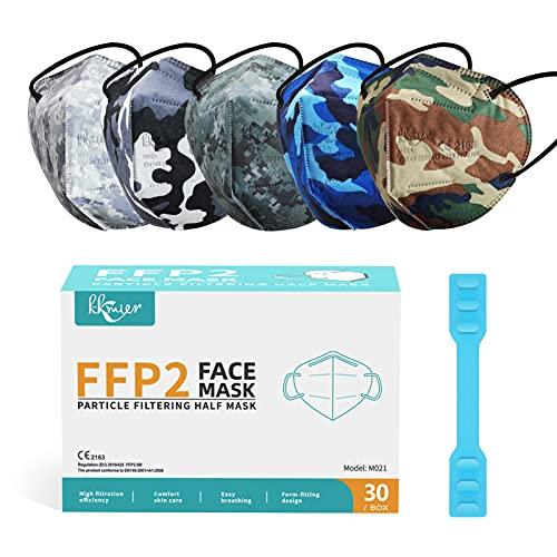 KKmier Mascarillas FFP2 Homologadas (30 Pack), Mascarillas ffp2 con Pendientes Elásticos y...