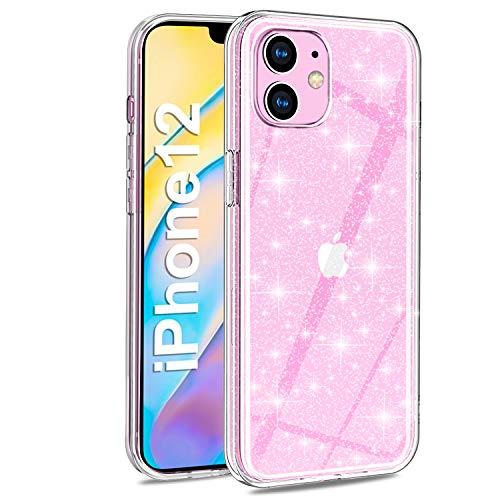 AROYI iPhone 12 Hülle, iPhone 12 Handyhülle Hülle Liquid Transparent Glitzer Slim Glitzer Anti Gelb Soft Silikon Cover dünn Hülle für iPhone 12