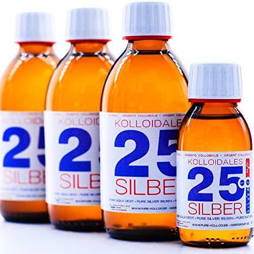 PureSilverH2O Kolloidalt silver 850 ml 25 PPM (3 x 250 ml) & flaska (100 ml) silvervatten 100 % fräsch och effektiv