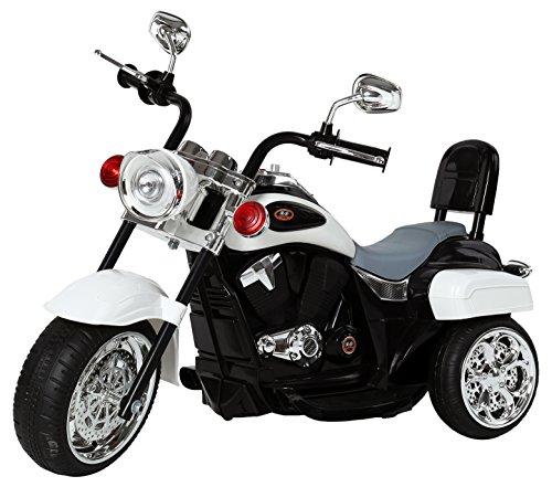 RICCO Kids 3 Wheel Chopper Trike Motorcycle Electric Ride on Motor Bike LED Lights and Music (WHITE)