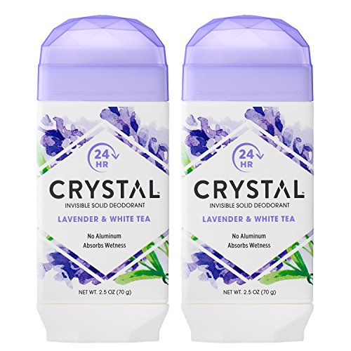 Crystal Deodorant, Lavender & White Tea, No Toxic Aluminums, Paraben Free, Hypo Allergenic, Artificial Fragrance Free, Vegan & Cruelty Free, 2.5 oz (Pack of 2)